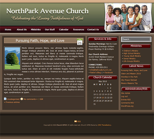 WordPress church theme interior layout.
