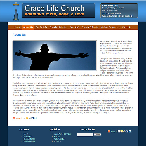 Church WordPress theme design.