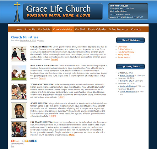 WordPress theme Church Ministries page.