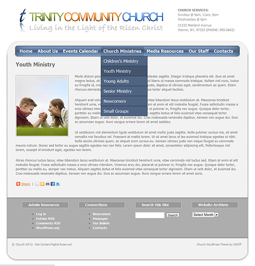 Youth Ministry page - with drop-menu.