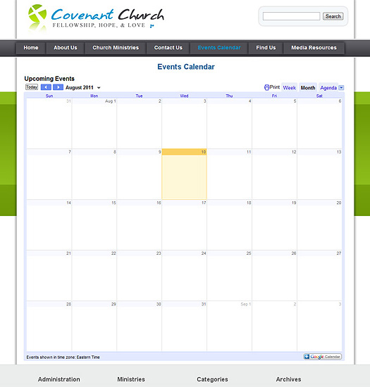 WordPress Church Theme Events Calendar.