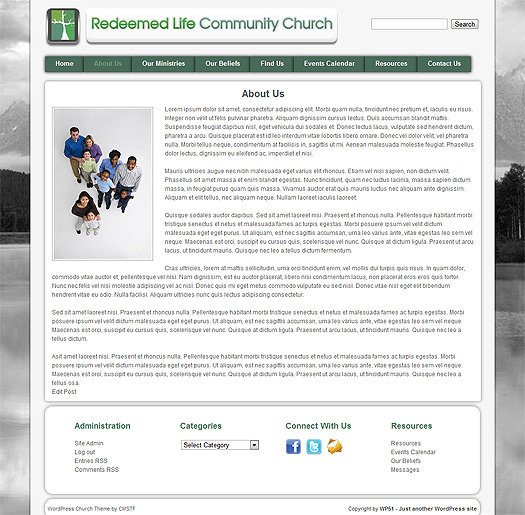 WP51 church theme cample page.