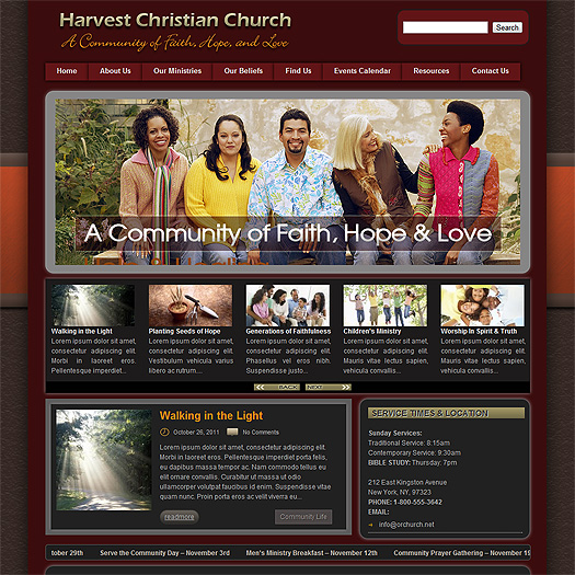 Church theme homepage view.
