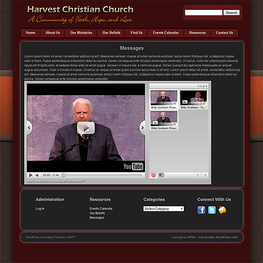 Church website page with video.