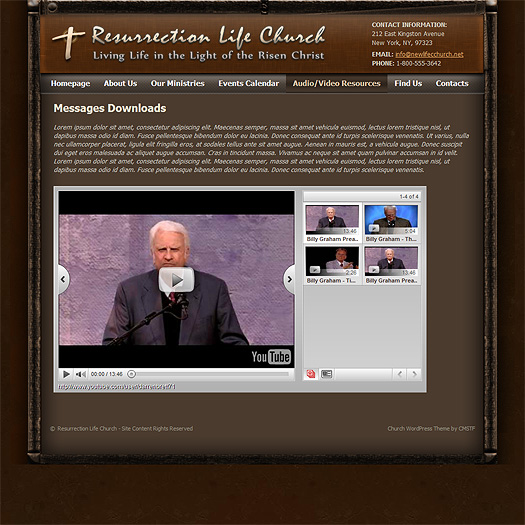 "WordPress church theme ""Video Resources""."