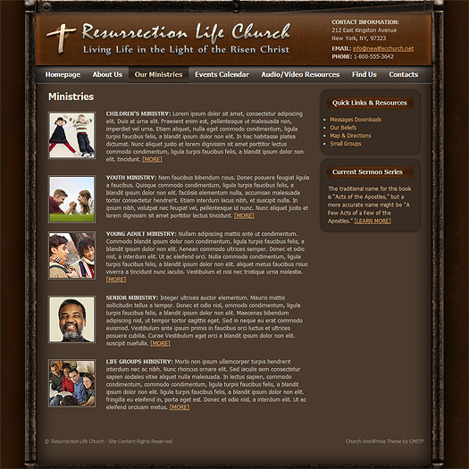 "WordPress church theme ""Ministries""."